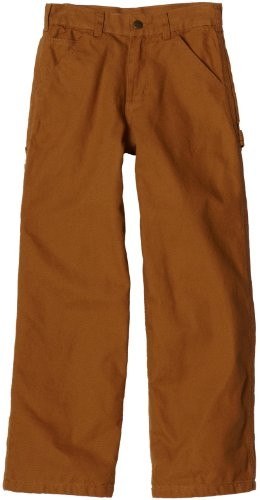 - Carhartt Big Boys' Washed Flannel Lined Dungaree Pant, Carhartt Brown, 16