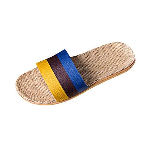 Hunpta Women Men Anti-slip Linen Home Indoor Summer Open Toe Flats Shoes Slippers Yellow