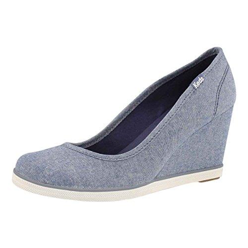 Keds Walking Shoes - Keds Women's Damsel Chambray Wedge Blue 7 M US
