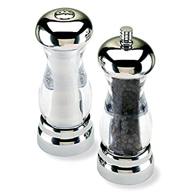 Olde Thompson 5.75  Del Sol Brushed Nickel Plated Pepper Mill and Salt Shaker Set