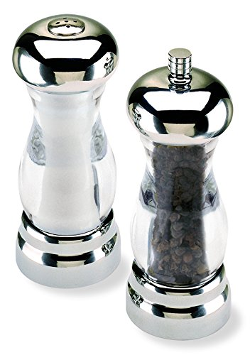 "Olde Thompson 5.75"" Del Sol Brushed Nickel Plated Pepper Mill and Salt Shaker Set"