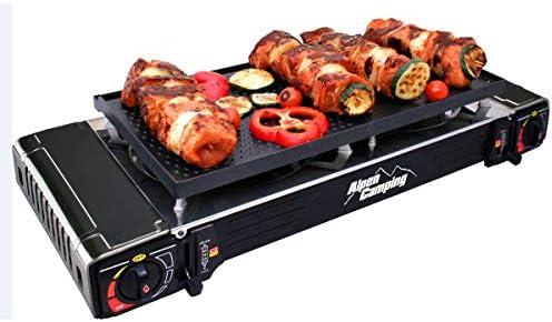 Plancha grill Gaz/réchaud 2 feux Piezo 5000W ALPENTECH 2en1 Portable Valise de transport