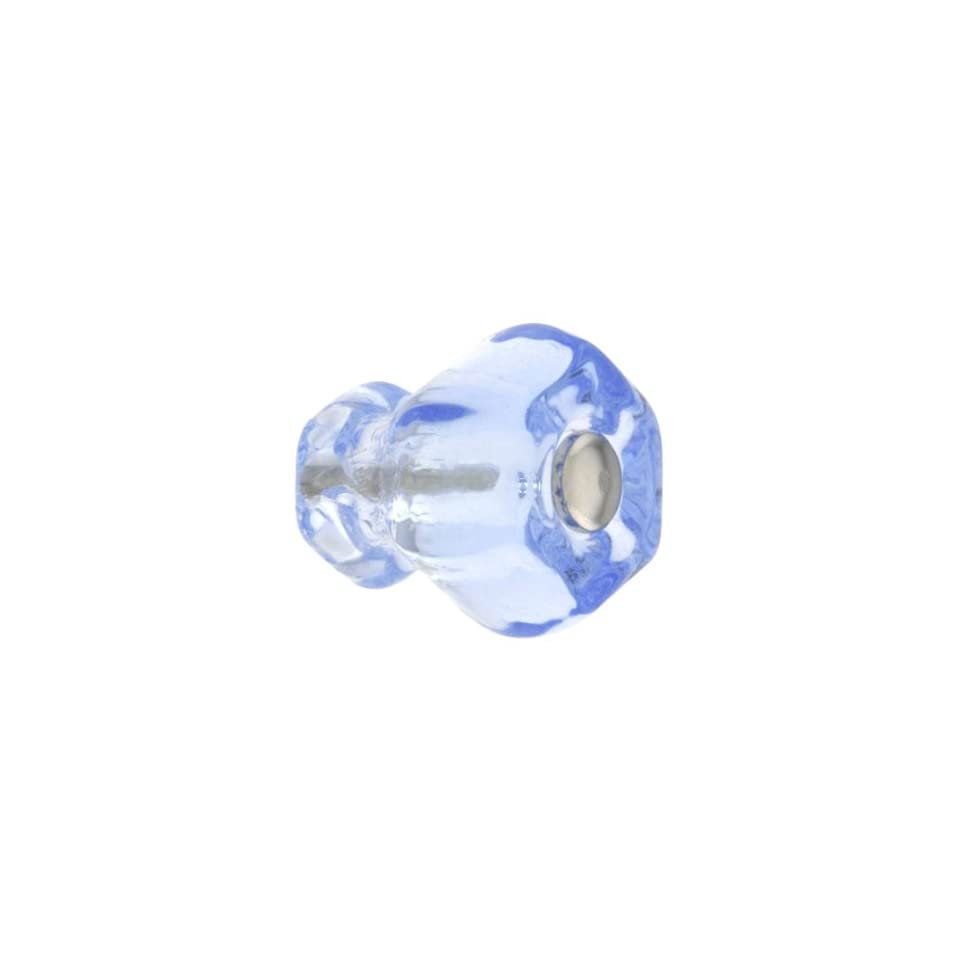 Small Hexagonal Light Blue Glass Cabinet Knob With Nickel Bolt. Drawer Knobs.