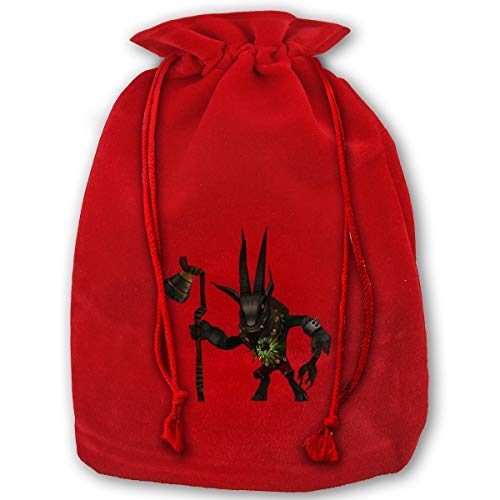 Liusgit Vintage Retro Krampus Christmas Merry Christmas Xmas Eve Gift Bags XL Large Bulk Candy Treat Drawstring for Reusable Bundle Reusable Themed Party Carrying -