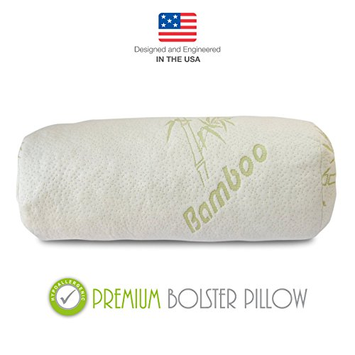 Round Arm - Premium Bamboo Bolster Pillow For Bed - Shredded Memory Foam Pillow Cervical Support For Legs, Round Neck Pillow For Neck Pain, Therapeutic, Orthopedic - Removable Zipper Cover Hypoallergenic Pillow