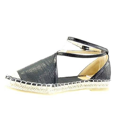 Angkorly - Chaussure Mode Espadrille Sandale ouverte femme peau de serpent multi-bride corde Talon bloc 2 CM - Noir