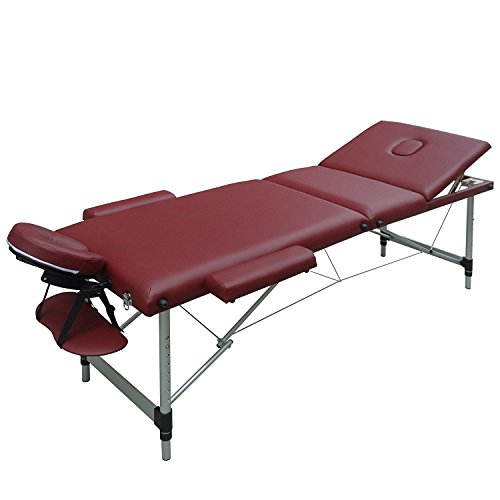 FirstWell® Folding 3 Section Aluminium Massage Table Portable Height Adjustable Professional Lightweight Massage Bed Beauty Treatment Couch Free Armrest Headrest Carrying Bag,Burgundy ()