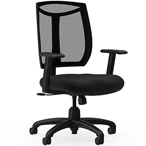 Lorell Made in America Mesh Back Chair with Air Grid Fabric Seat, Black, LLR83100 (Mesh Grid Chair Air)