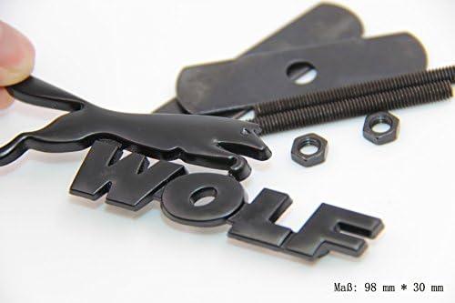 E844 Wolf 3D K/ühlergrill Emblem Schild Abzeichen Auto Aufkleber Front Grill schwarz
