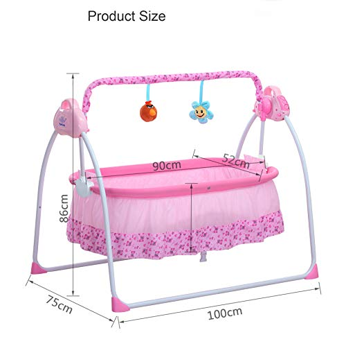 AIRNOK Baby Cradle Swing Electric for Infants Indoor&Outdoor Outside with Dolls Cradle for Automatic Baby Basket Electric Rocking Multi-Function Baby Swing Cradle Bed with Music (Pink)