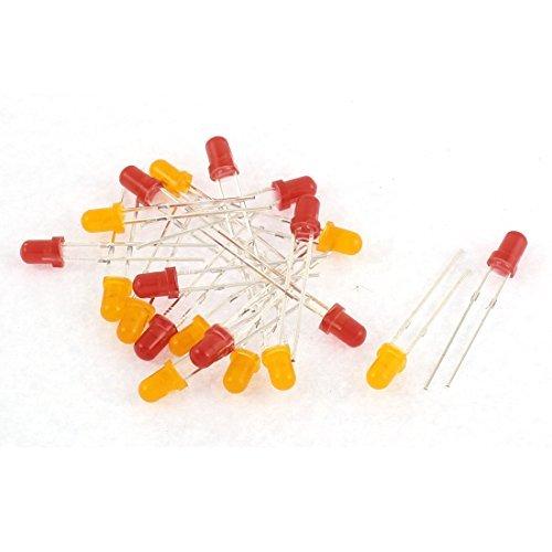 eDealMax 20pcs de cabeza Redonda Rojo Amarillo diodo emisor de luz ...