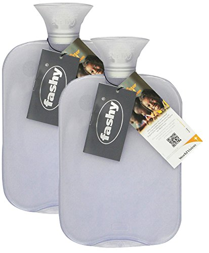 Transparent Classic Hot Water Bottle - Made in Germany (Clear- 2pk) (Transparent Classic Hot Water Bottle Made In Germany)