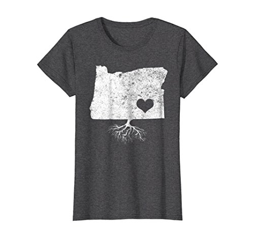 Womens Oregon Roots Shirt: I Love Oregon T-Shirt With Roots Large Dark Heather