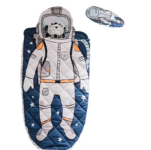YAYIDAY Toddler Sleeping Bag with Pillow - Kick-Proof Slumber Bag for Kids Nursery - 100% Cotton Quilted Blue Nap Mat Blanket Soft Warm Boy Spaceman Astronaut Print Sleep Sack