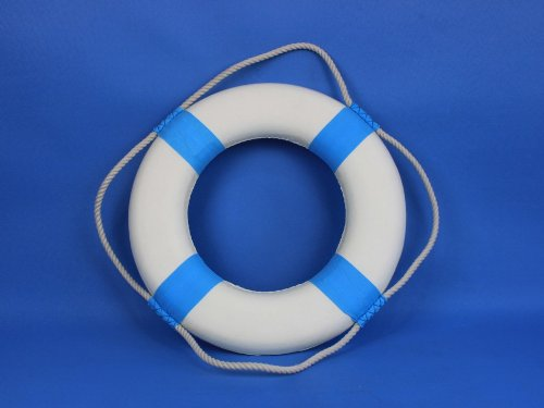 Decorative White Lifering with Light Blue Bands 15'' - Life Saving Ring - Beach Living