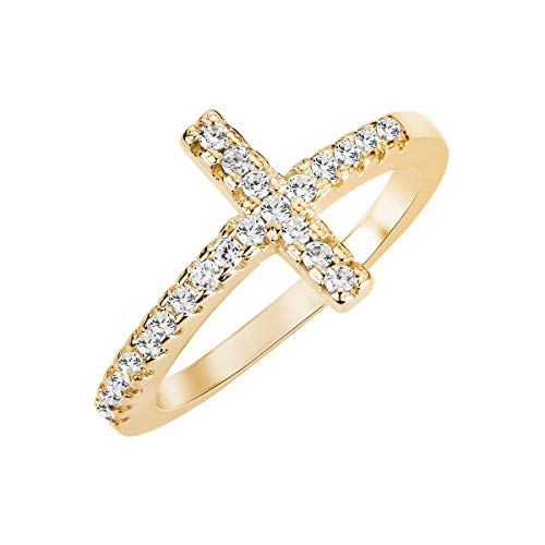 - CloseoutWarehouse Cubic Zirconia Christian Sideway Cross Ring Sterling Silver Yellow Gold-Tone Plated Size 7