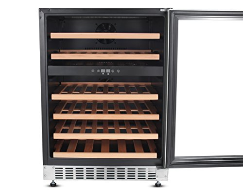 Thorkitchen JC-145A2EQ 46 Bottle Built-in & Free Standing Dual Zone Wine Cooler, Stainless Steel by Thor Kitchen (Image #1)