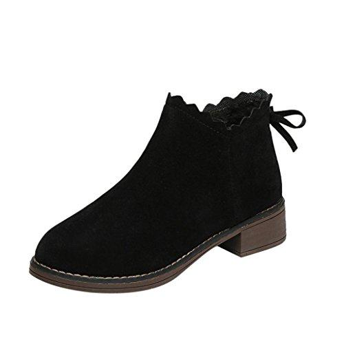 hunpta Women's Autumn Casual Boots Wild Bowknot Ruffles Ankle Boots Black 2OaR0