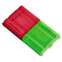 Hama 46674 - Caja para 4 pilas, color rojo y verde