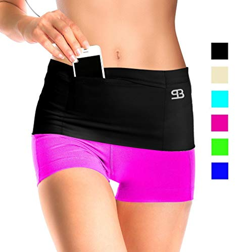Unisex Travel Money Belt, Running Belt, Fanny and Waist Pack, 4 Large Security Pockets and Zipper, Fits Phones Passport and More, Extra Wide Spandex (Black, Small,W2-6,M28-32(see size chart))