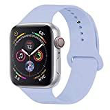 GIPENG For Apple Watch Strap 38mm 40mm, Soft Silicone Classic Sport Replacement Watch Band for iWatch Series 4, Series 3, Series 2, Series 1(Lilac, 38ML)