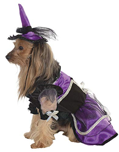 Rubie's Pet Costume, Medium, Purple Witch Dress and Hat -