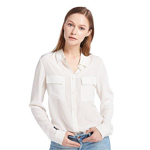 LilySilk Women's 100% Silk Blouse Long Sleeve Ladies Shirts 16 Momme Silk White Size S