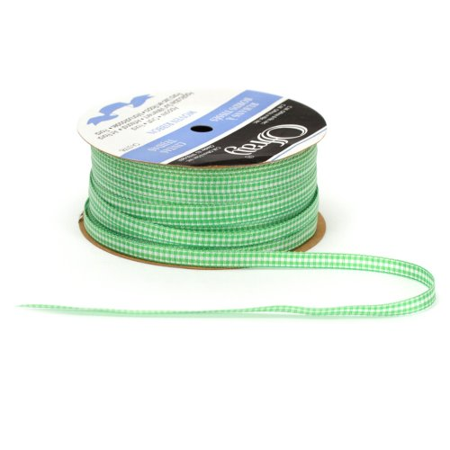 Offray Microcheck Craft Ribbon, 1/4-Inch Wide by 100-Yard Spool, Apple -