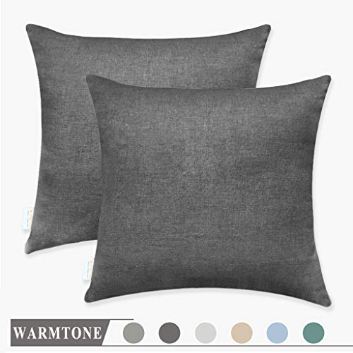 WARMTONE Couch Pillow Covers Throw Cushion Faux Linen Home Decorative Hand Made Pillow Case Cushion Cover for Naps, Bench (Dark Grey, 18