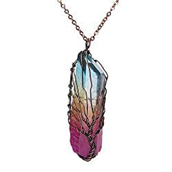 Clear Quartz Point Crystal Pendant Necklace