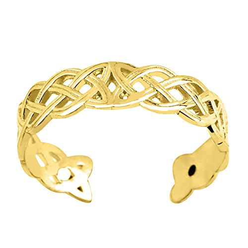 Ring Celtic Toe 14k (14K Yellow Gold Celtic Knot Weave Design Cuff Style Adjustable Toe Ring 4mm)