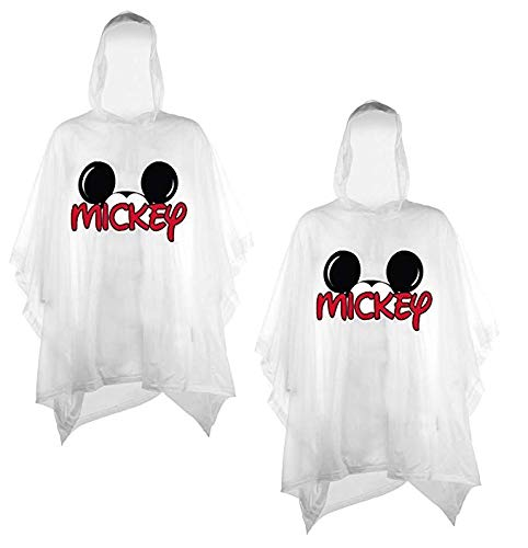 Disney 2-Pack Family Rain Ponchos, Mickey Or Minnie Mouse, Adult & Youth (Mickey-Mickey, Adult)