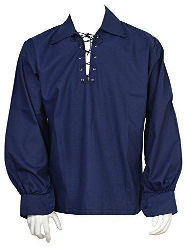 Scottish Navy Blue Jacobite Ghillie Kilt Shirt Leather Cord (2XL) -