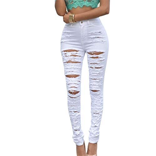 - Fashion Casual Women Vintage High Waist Skinny Denim Jeans Slim Ripped Jeans Hole Pencil Femme Pant Sexy Girl Trouser White S