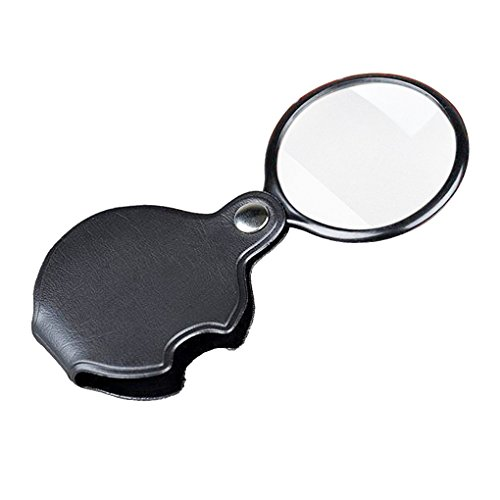 Mini Folding Pocket Magnifier with 10X Loupe 60mm Diameter Magnifying Lens for Reading Newspaper,Book,Magazine,Science Class,Hobby,Jewely,Inspection, Magnifier with Leather Sleeve Black
