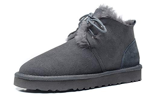 JOYBI Women Faux Suede Round Toe Short Snow Boots Fur Slip On Warm Lace Up Flat Heel Winter Ankle Booties