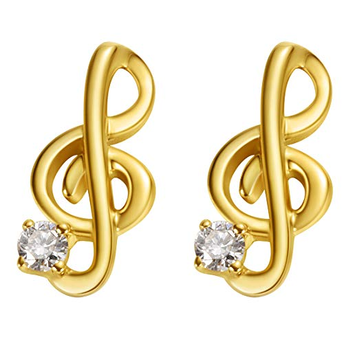 Carleen 18k Solid Yellow Gold Dainty Tiny Statement Music Note Earrings Delicate Fine Jewelry Diamond Stud Earrings For Women Girls (Studded Earrings Diamond Black)