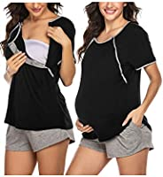 Ekouaer Maternity Nursing Pajamas Sleepwear Set Shorts Striped for Hospital Home