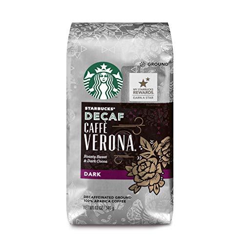 Starbucks Caffè Decaf Verona Dark Roast Ground Coffee, 12-Ounce Bag