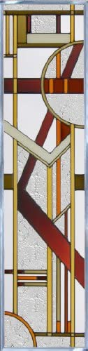 Brown ART DECO ARCHITECTURAL Suncatcher Window 42 h x 10.25 w VERTICAL SIDELIGHT Glass Panel