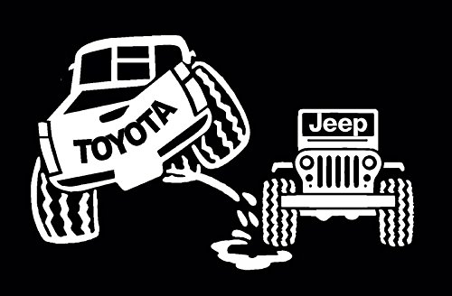 Toyota Peeing On Jeep Decal, Toyota Tacoma Sticker, Anti Jeep Vinyl Letters (H 5 By L 9 Inches, White)