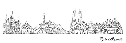 Barcelona Library Wall (Barcelona - City Sketches - 44x15 Matte Poster Print Wall Art B&W)