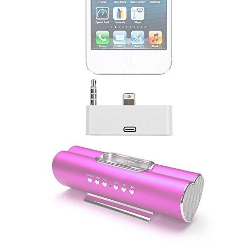 Nano Ipod Docking Station (DURAGADGET Ricco Heart Shaped Aluminum iPhone 4 3G 3GS iPod Nano Touch Docking Station / Speaker Audio Adapter - High Quality Apple iPhone 5 Lightning to iPhone 4 30 Pin Audio Adapter for Use with Apple iPhone 5, Apple iPhone 5C & Apple iPhone 5S + BONUS Cleaning Cloth!)