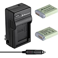 Powerextra 2 Pack Replacement Canon NB-13L Li-ion Battery With Travel Charger for Canon PowerShot G5 X, G7 X, G7 X Mark II, G9 X, G9X Mark II, SX720 HS Digital Camera