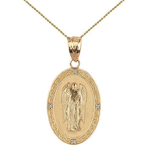 Sólido 14K amarillo oro Arcángel San Gabriel Diamond Oval Medallón Colgante Collar 1,02«(25mm) (viene con un 45cm cadena)