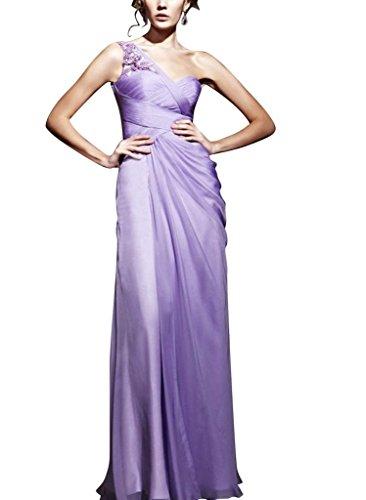Mantel BRIDE Lila bodenlangen Chiffon Perlen mit Applikationen Spalte Schulter Abendkleid GEORGE einer 5ApnqwAd