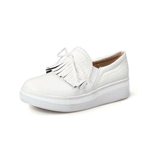 AllhqFashion Damen Ziehen auf PU Leder Rund Zehe Niedriger Absatz Absatz Absatz Rein Pumps Schuhe Weiß 5adf7f