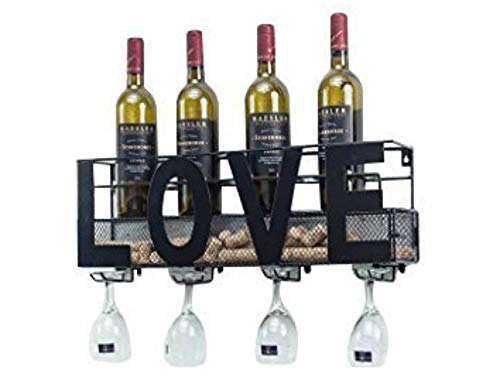 Besti Premium Black Wall Mount Metal Wine Rack with Home Wine Word Hanging Horizontal Bottle Holder Storage Decorative Display - Sturdy Construction -Home Décor for Living Room Or Kitchen (Love)
