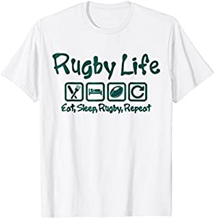Birthday Gift RUGBY LIFE, RUGBY T-SHIRT, EAT SLEEP RUGBY REPEAT SHIRT Long Sleeve - Funny Shirt / Navy / S - 5XL