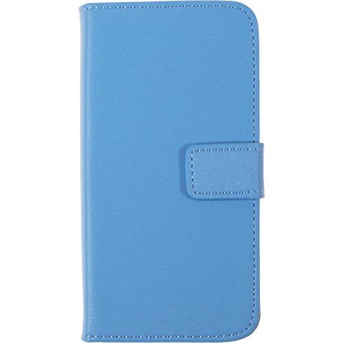 PhoneNatic Kunst-Lederhülle für Apple iPhone 5 / 5s / SE Premium blau Tasche iPhone 5 / 5s / SE Hülle + 2 Schutzfolien